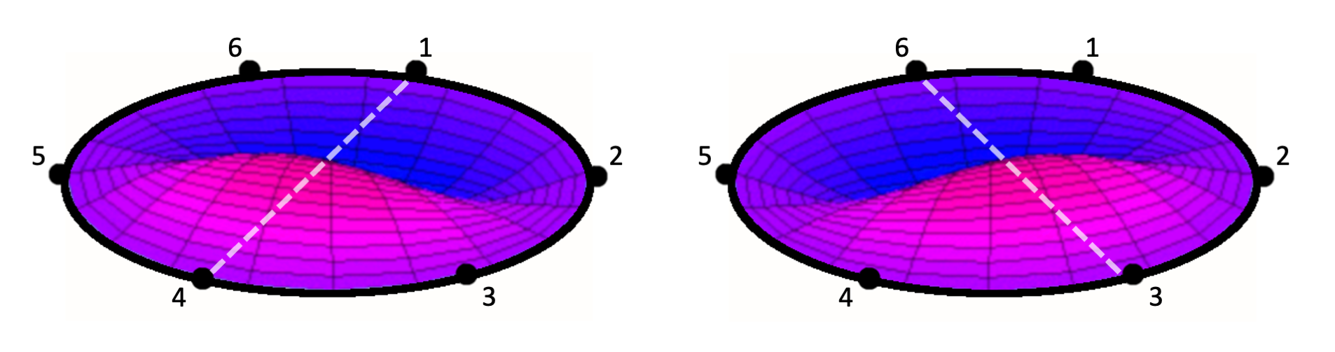 Figure 4.1. F1 overtone vibrations between different lug points on a drumhead