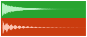 Figure 4.4. Microphone recording of even (top) and uneven (bottom) tuned drumheads