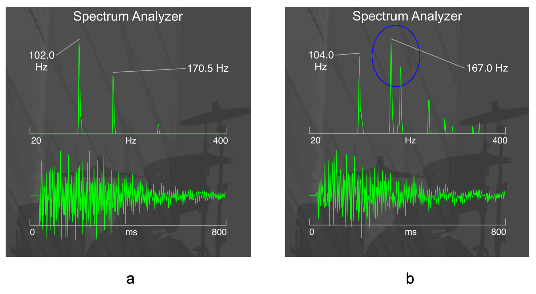 Figure 4.5. An evenly tuned drum gives clear fundamental and overtone peaks on the frequency spectrum (a), whereas an unevenly tuned drum (b) can often exhibit two frequency peaks around the region of the first overtone frequency