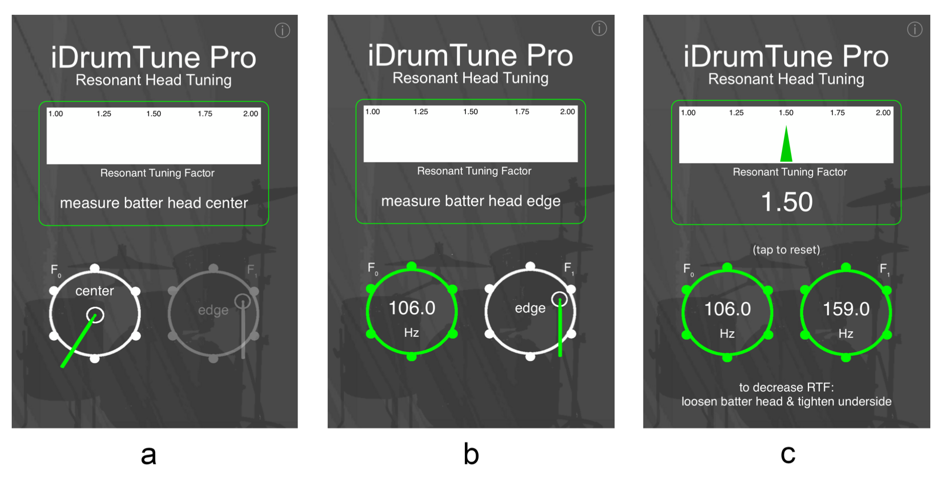 Figure 5.4. iDrumTune's Resonant Tuning feature used to calculate RTF values for a drum