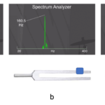 Figure 8.1. Tuning fork frequency spectra for free vibration (a) and with different amounts of mass added to the fork tines (b and c)
