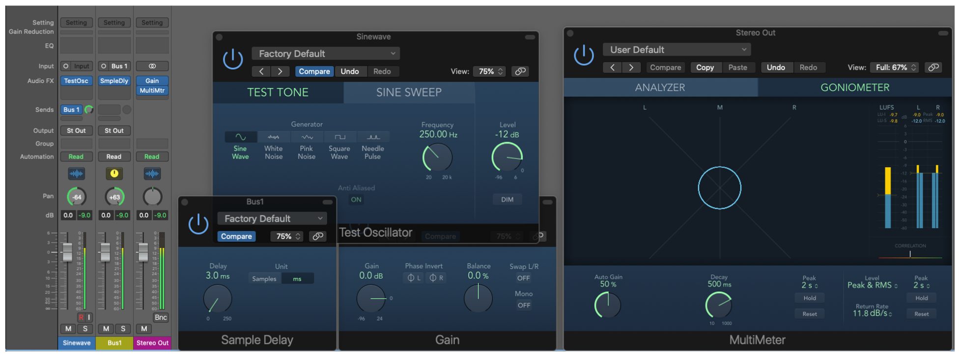 Figure 14.9. Set-up for phase meter analysis in Logic Pro