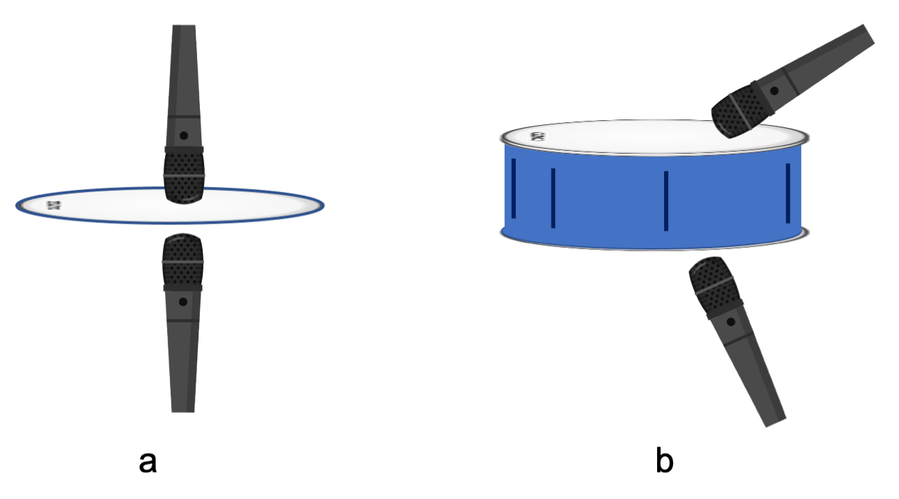 Figure 14.11. Microphones positioned with different orientation on drumheads and drums