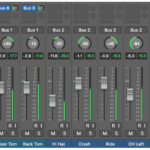 Figure 16.2. Drum instrument tracks with panning and volume adjustments, sub-mix bussing, and auxiliary sends